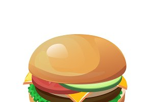 Isolated vector colourful hamburger