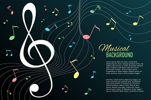Vector background with music notes