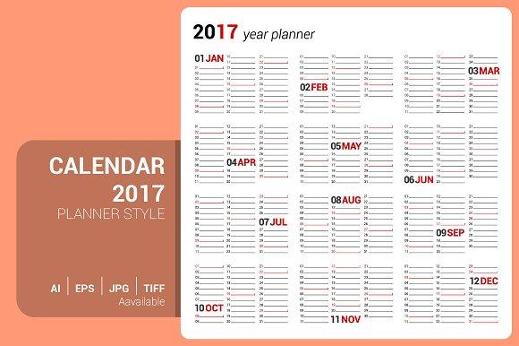 calendar 2017 planner design stationery templates creative market