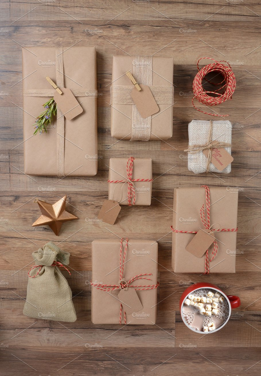 Rustic Christmas Presents and Cocoa ~ Holiday Photos ~ Creative Market