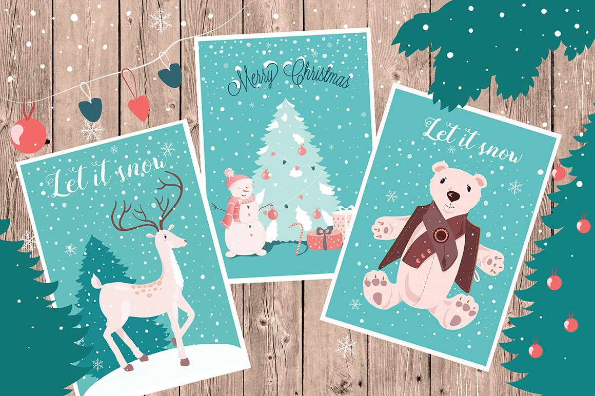 Christmas Cards And Clipart Set Illustrations Creative Market