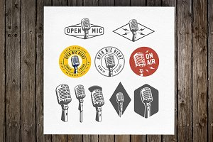 Vintage microphone emblems and logos