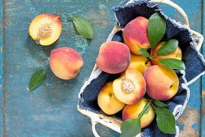 Harvest fresh ripe peaches