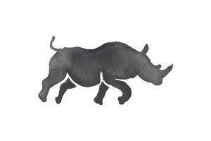 Rhinoceros Silhouette Running