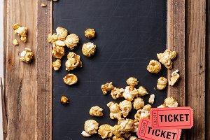 Сhalk board with popcorn