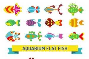 Aquarium flat style fishes vector