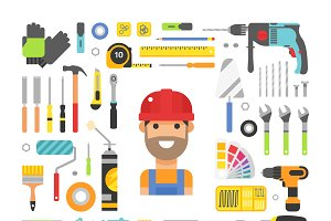 Construction equipment tools vector