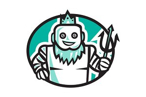 Robotic Poseidon Holding Trident