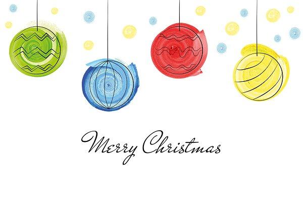 Christmas balls greetings card