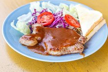 grilled pork steak
