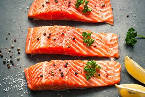 Raw Fillet of salmon