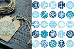 Blue snowflake ornaments