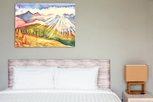 Sunny mountain landscape.