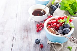 Chocolate dessert with berries