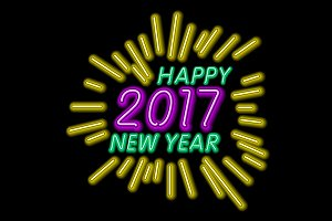 Vector Happy New Year - 2017 neon