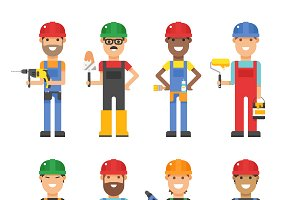 Cartoon workers vector set