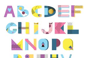 Alphabet geometric funny vector set