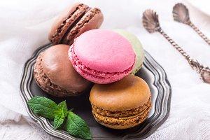 Cake macaron or macaroon, colorful almond cookies