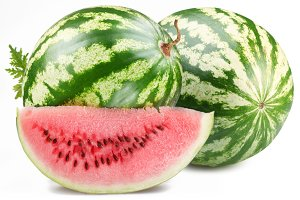 Watermelon with slice isolated on white background. File contains a path to cut.