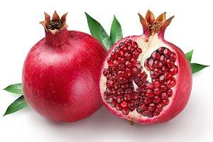 pomegranates on a white