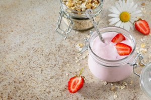Homemade yogurt with strawberries