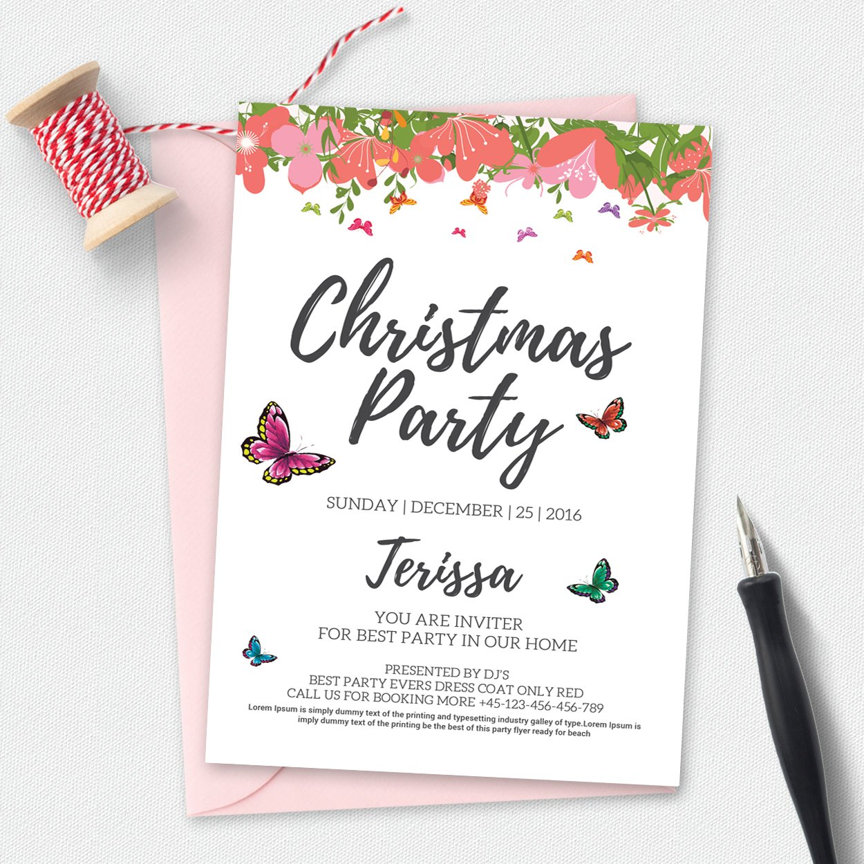 christmas party invitation template invitation templates creative market. Black Bedroom Furniture Sets. Home Design Ideas