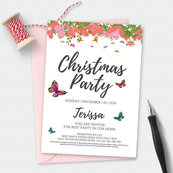 christmas party invitation template invitation templates on creative market. Black Bedroom Furniture Sets. Home Design Ideas
