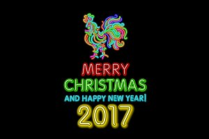 Christmas neon sign. Vector 2017