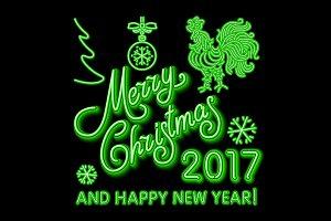 green Christmas neon sign. Vector