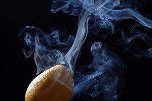 lemon enveloped by smoke