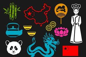China icons and patterns.