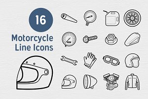 16 Motorcycle Line Icons