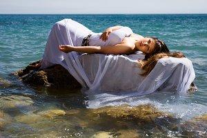 woman at the sea beach