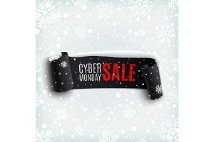 Cyber Monday sale ribbon.