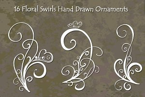 Floral Swirls Hand Drawn Vector