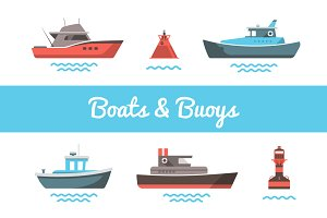 Mini boats illustrations