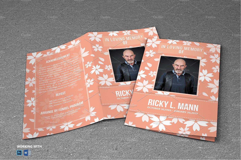purple flower funeral program brochure templates creative market