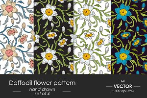 Daffodil victorian patterns set of 4