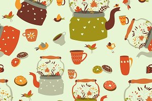 Seamless pattern with kettle and cup