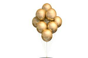 Stand by table with golden ballons