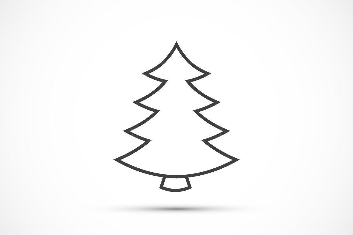Christmas Tree Thin Line Icon