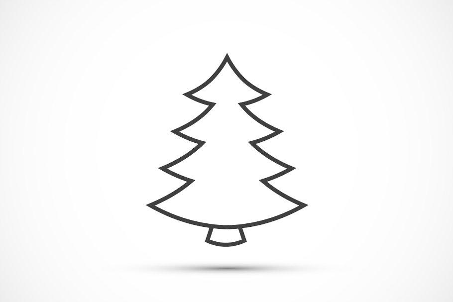 Christmas Tree Icons.Christmas Tree Thin Line Icon