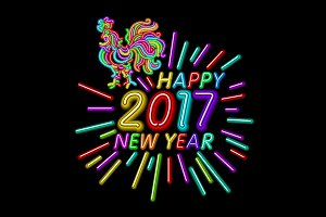 happy new year 2017 rooster neon