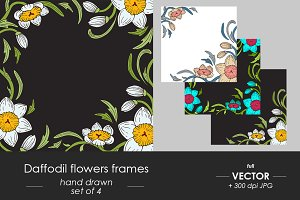 Daffodil flowers frame set of 4
