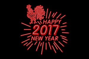 happy new year 2017 rooster neon red