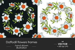 Daffodil flowers decorative frame