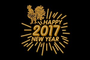 2017 happy new year rooster neon