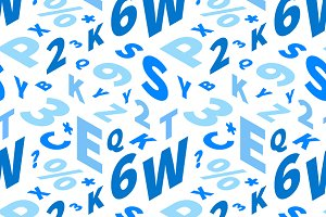 Blue letters in isometric projection