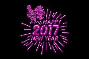 neon 2017 happy new year rooster