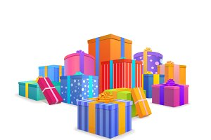Colorful wrapped gift boxes on white